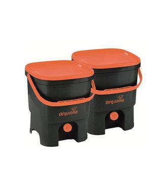 Plastika Skaza Bokashi Organico - Eco-Komposteimer - Brain Incl - schwarz-orange - (2er-Set)