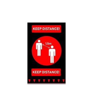 Brandless Deurmat 90x150cm Keep Distance Zwart-rood Engels Rechthoek Polyamide-latex