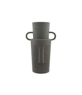 Cosy @ Home Vase Face Dunkel Grau 19,5x13,5xh30cm Rund Steinzeug