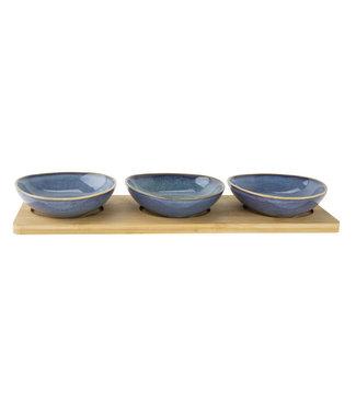 Cosy & Trendy Tabla de servicio - Bambú - 3 cuencos - Cerámica - Azul