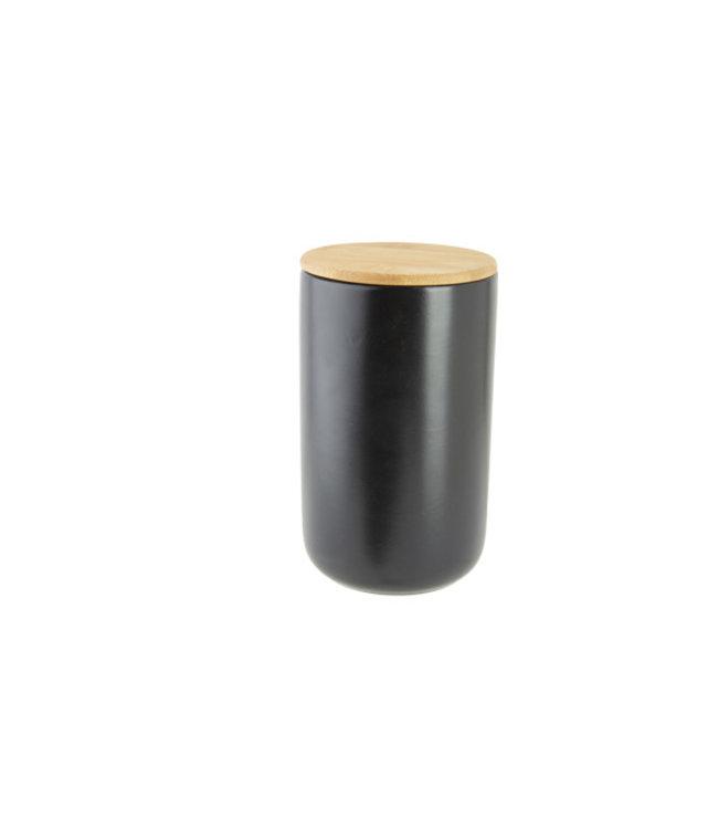 Cosy & Trendy Aperopotje Zwart D10xh17cm Keramiek + Deksel Bamboe