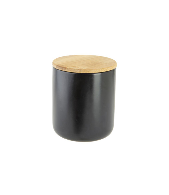 Cosy & Trendy Aperopotje Zwart D10xh12cm Keramiek +deksel Bamboe