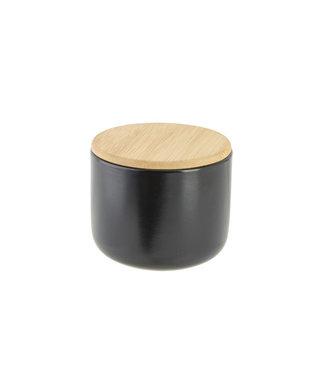 Cosy & Trendy Aperopotje Zwart D10xh8cm Keramiek + Deksel Bamboe
