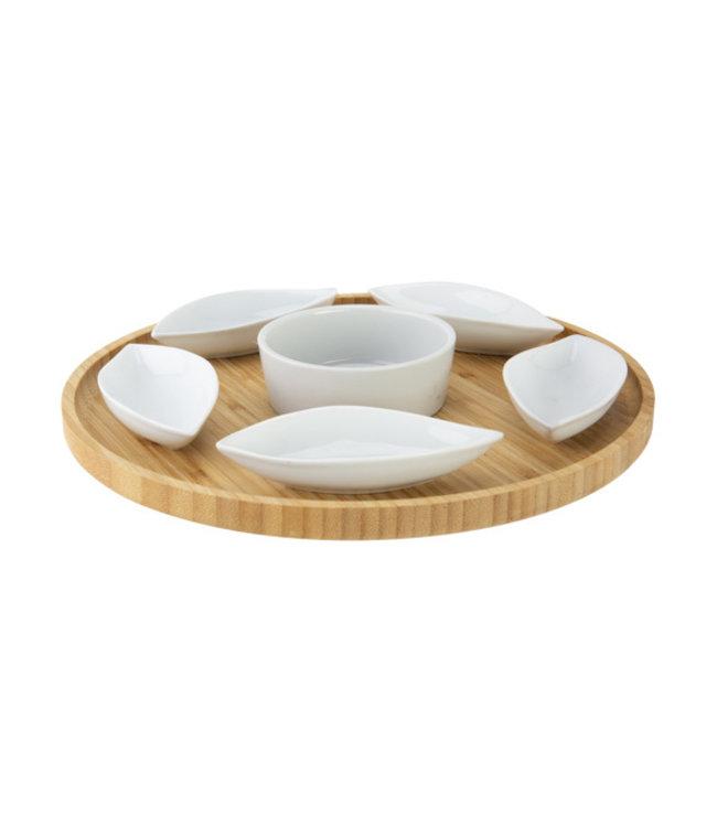 Cosy & Trendy Serveerplank D26xh3cm Rond Bamboe+6keramieken Bowls (11.5x5x25cm)