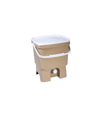 Plastika Skaza Bokashi Organico Eco - Compostemmer - Beige - incl Brain - 33.2x28xh39cm
