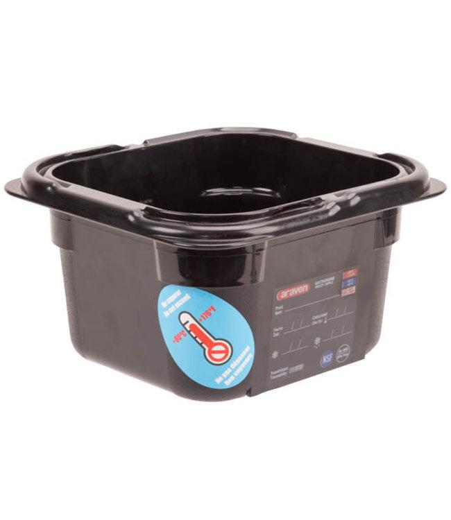 Araven Airtight Foodbox Zwart 1,5l Gn1-617.6x16.2xh10cm Rechthoek Kunststof (set van 6)