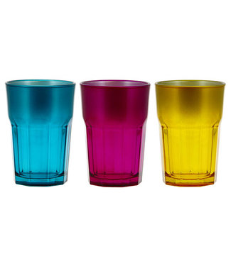 Cerve Medina Water Glass 38cl Set 3 Assturquoise-lila -yellow
