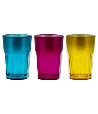 Cerve Medina Waterglas 38cl Set 3 Assturquoise-lila -yellow