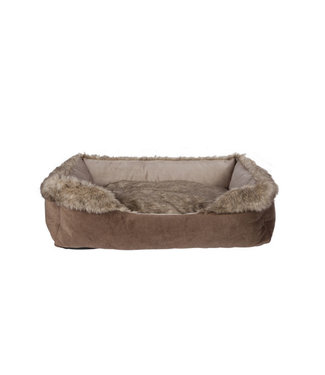 Cosy & Trendy Rectangle Bolster Bed Brown 60x40xh20cmremovable Pillow