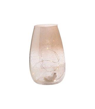Cosy @ Home Wind Light Irise Led White 12x12xh20cm Round Glass  Incl.1xcr2032 Batt. (set of 4)