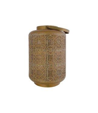 Cosy @ Home Windlicht With Glass Brass - Geelkoper 20,5x20,5xh31cm Metaal