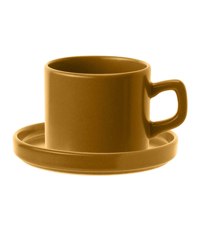 Cosy & Trendy Tower Mustard Cup And Saucercup D7.5xh6.7cm  18cl - Saucer 14cm