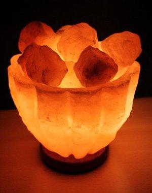 NATURAL BIO STORE Finest Selection Lampe à Sel de l'Himalaya Recipient+Cristaux