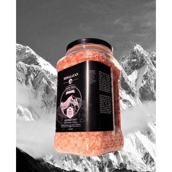 NATURAL BIO STORE Finest Selection Sel Rose de l'Himalaya gros cristaux (2-6mm) 1700 grammes, pot réutilisable avec bouchon à vis