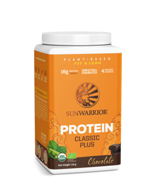 SUNWARRIOR Protein Powder Classic Plus Chocolate 750g Organic & Vegan