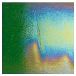 1412-051 light aventurine green, thin, irid, rbow 2 mm