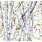4223-000 yellow, blue, & red frit with blue streamers on clear 3 mm