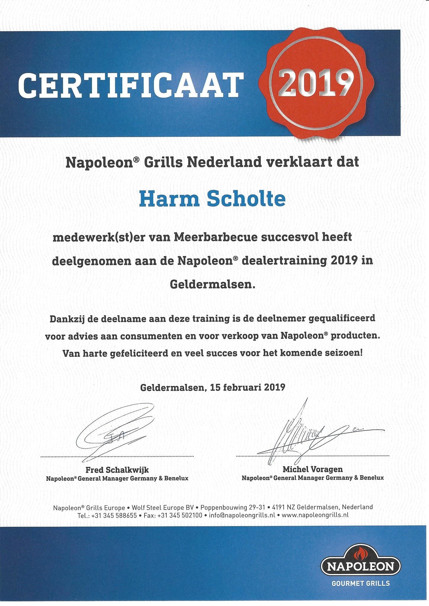 Napoleon Certificaat Meerbarbecue