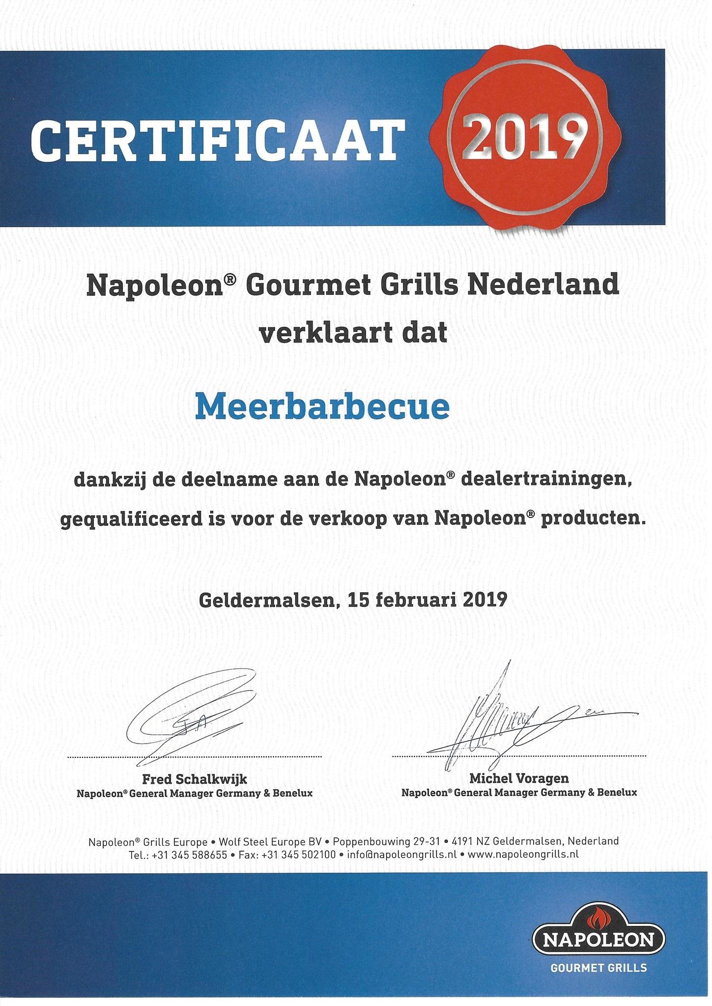 Napoleon Gecertificeerd verkooppunt Meerbarbecue