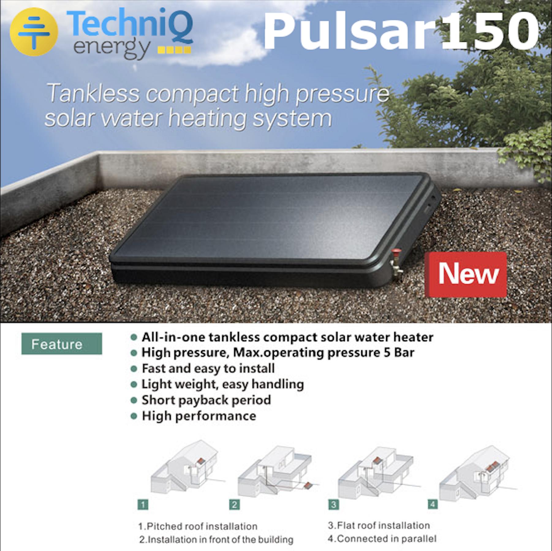 Nieuw: De Pulsar150 off grid zonneboiler van TechniQ Energy