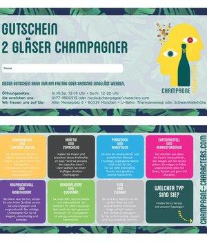 Präsente Gutschein für 2 Gläser Champagner in unserer Boutique