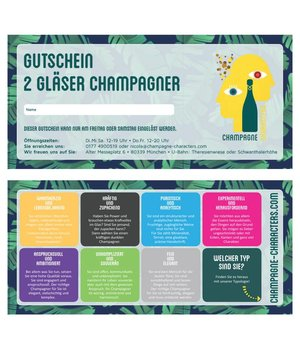Präsente Voucher for a 2 glasses of Champagne in our Boutique