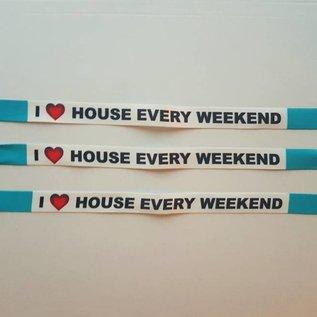 "Festivalbandjes ""House every weekend"" blue"