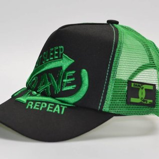 "Cap ''Eat Sleep Rave Repeat""  3D EMBROIDERY (Green)"