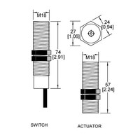 Magnetische contactloze cilindrische (M18) veiligheidsschakelaar MS2