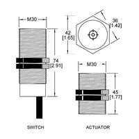 Non-contact magnetic barrel mount (M30) safety switch MS3