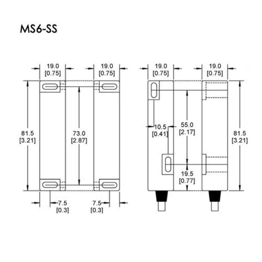 Magnetische RVS contactloze veiligheidsschakelaar MS6-SS