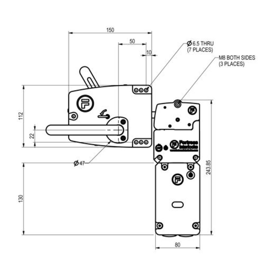 Extreem robuuste deurklinkbediende stalen veiligheidsschakelaar met vergrendeling en noodontgrendeling PLe