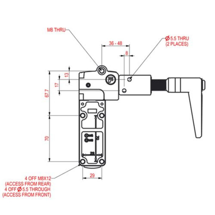 Extreme robust handle operated aluminium safety switch PLe