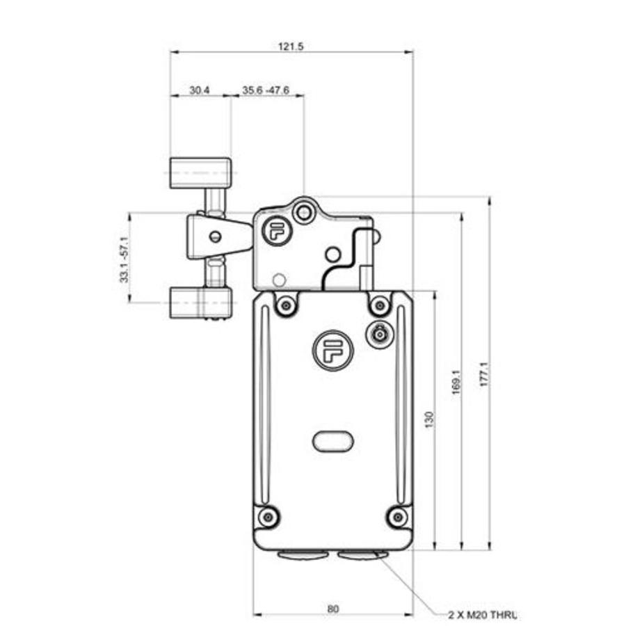 Sehr robuster Sicherheitsschalter mit Zuhatlung aus Metall mit feste Betätiger PLe