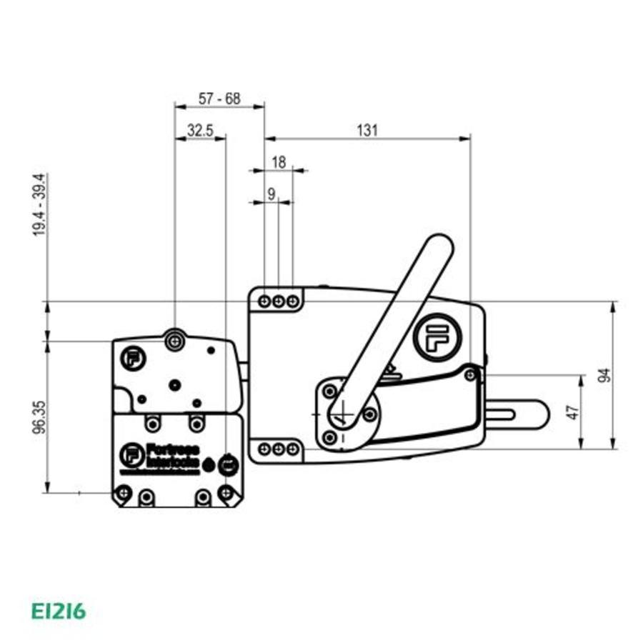 Deurklinkbediening en kop EI2I6 - EI4I6