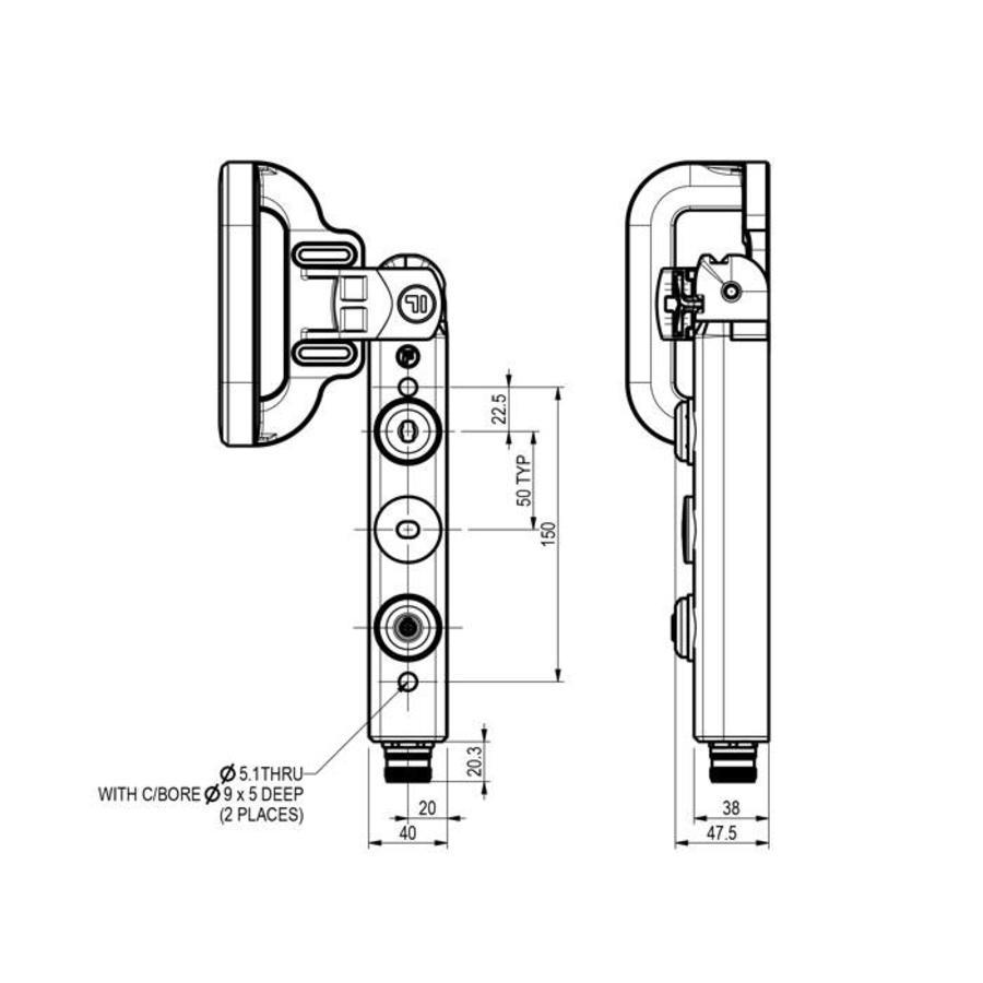 Hendelbediende aluminium veiligheidsschakelaar met vergrendeling en persoonlijke veiligheidssleutel PLd