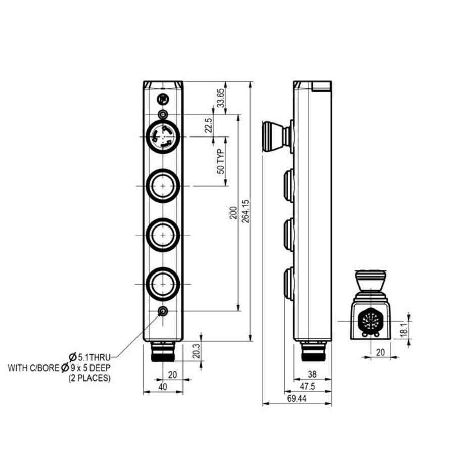 Aluminium Taster-Unit mit 3 Bedienelementen und Not-Aus
