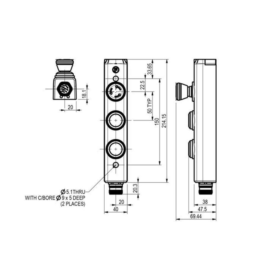 Aluminium behuizing met 2 machinefuncties en noodstop