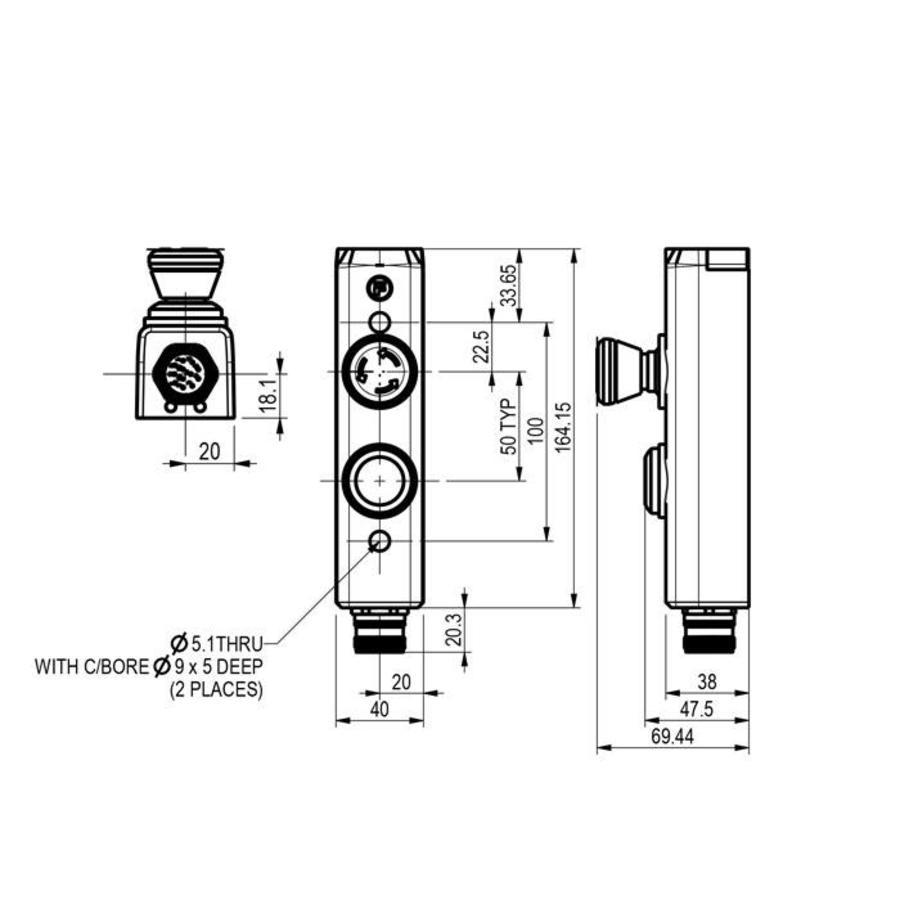 Aluminium behuizing met 1 machinefunctie en noodstop