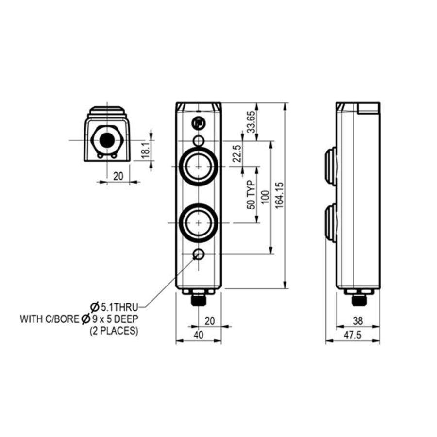 Aluminium Taster-Unit mit 2 Bedienelementen