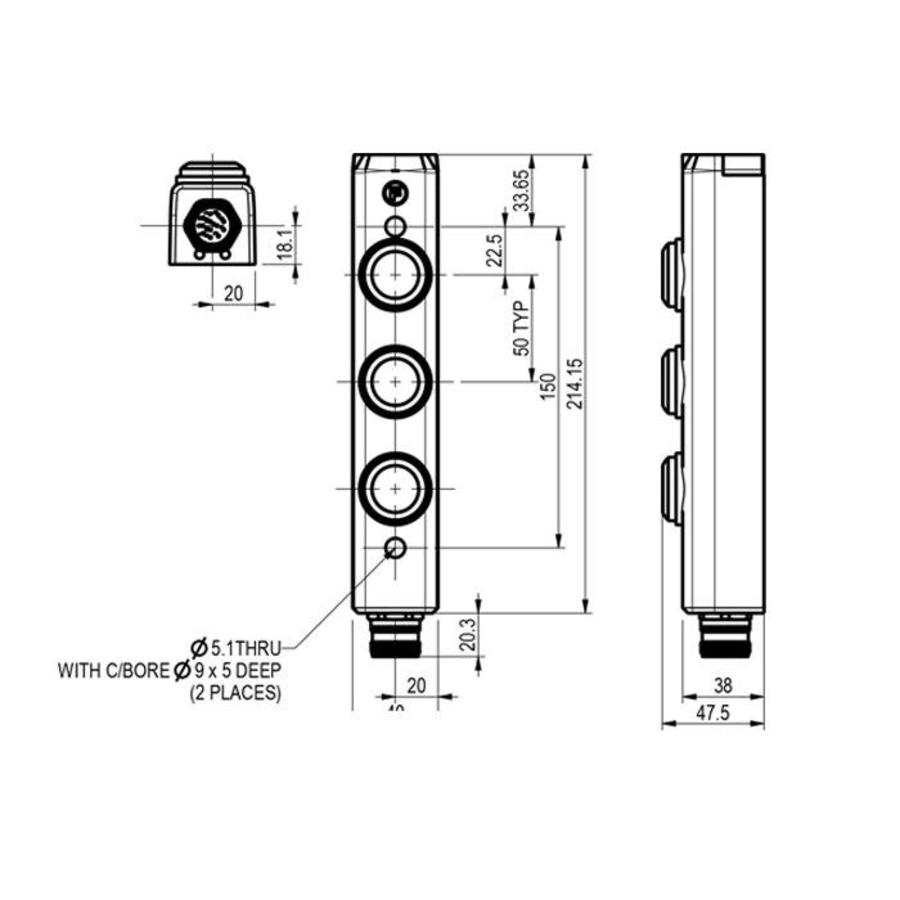 Aluminium Control enclosure  with 3 control elements