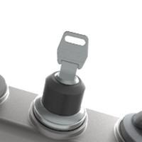 Aluminium behuizing met 3 machinefuncties en noodstop
