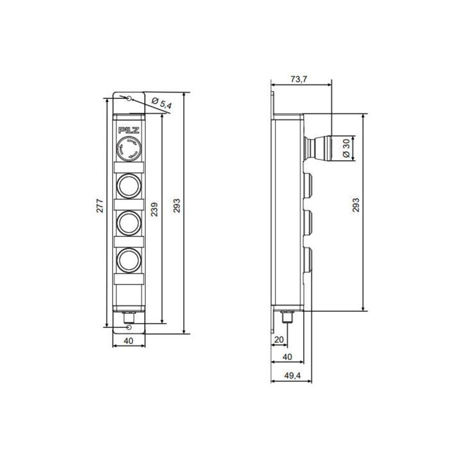 Stalen  behuizing met 2 drukknoppen, noodstop en sleutelschakelaar