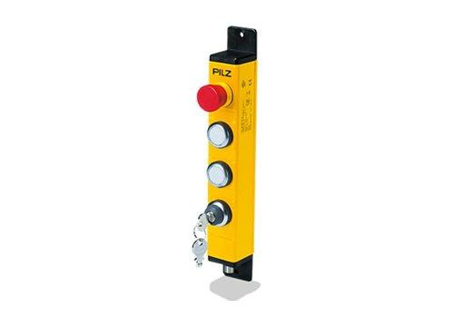 Bedieneinheit in Metallgehäuse mit 2 Drucktastern, Not-Aus und Schlüsselschalter PIT gb KLLE