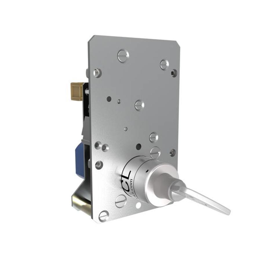 Coded key switch with solenoid locking and back of board mounting