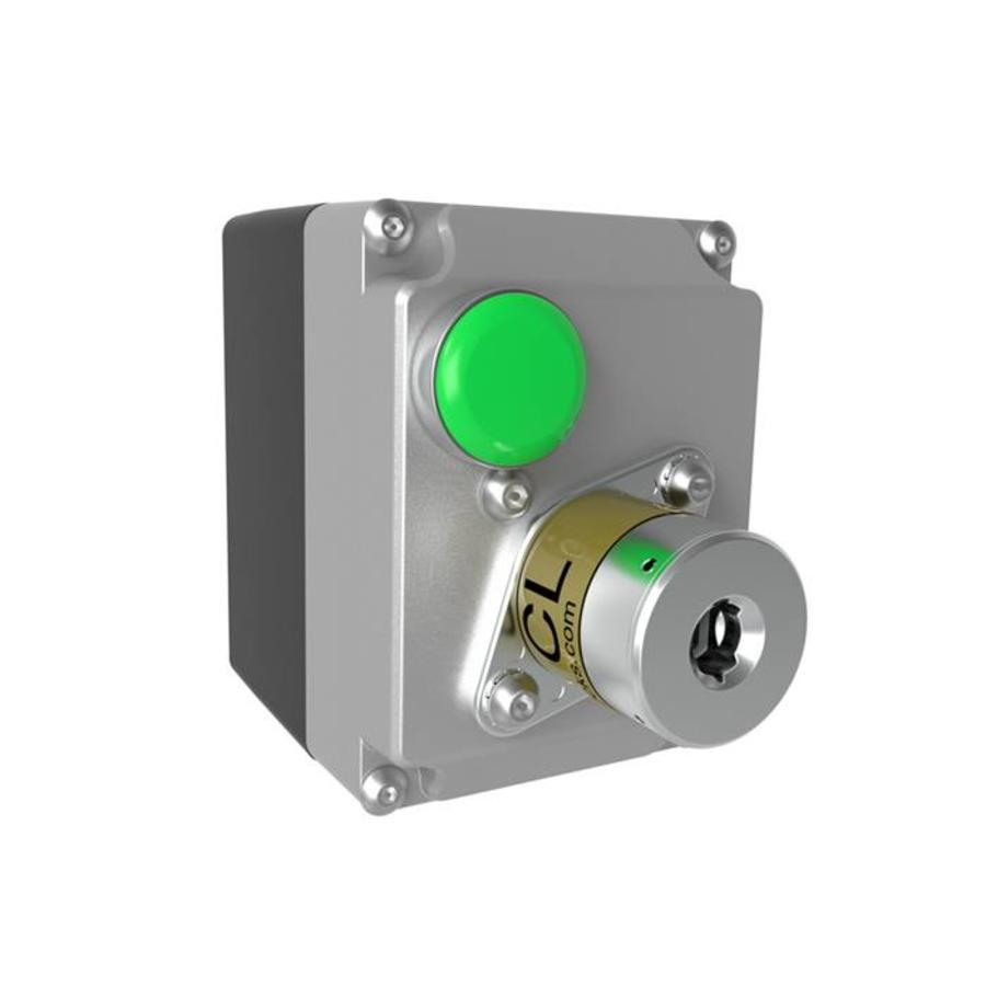Coded key switch with solenoid locking in IP67 enclosure