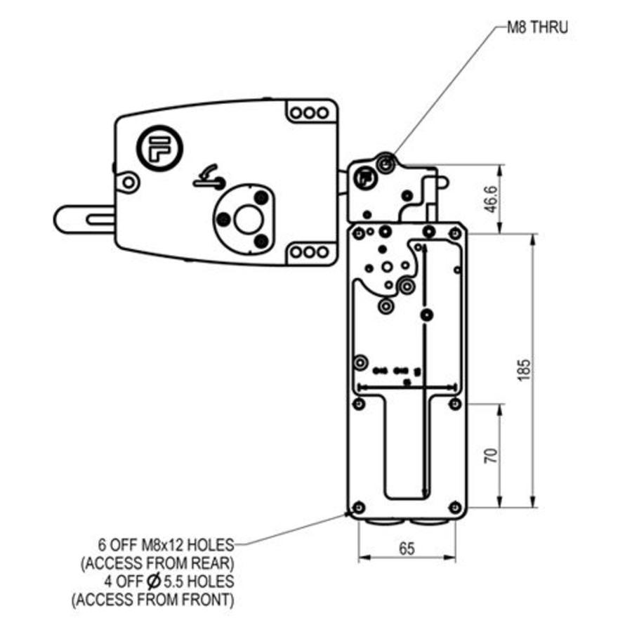 Sehr robuster Sicherheitsschalter mit Zuhatlung aus Metall mit Türgriff und Drucktasten PLe.