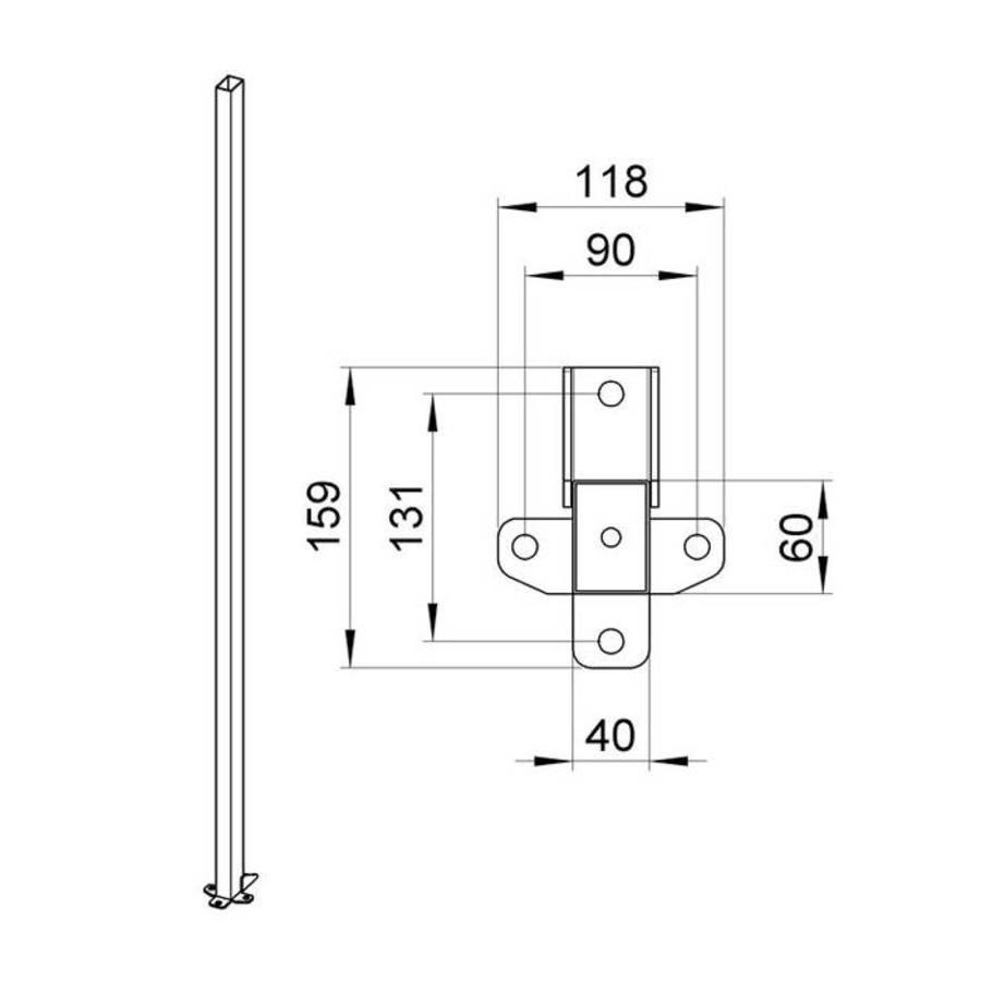 Gecoate staander 60 x 40 x 1400mm in grijs (RAL 7037)