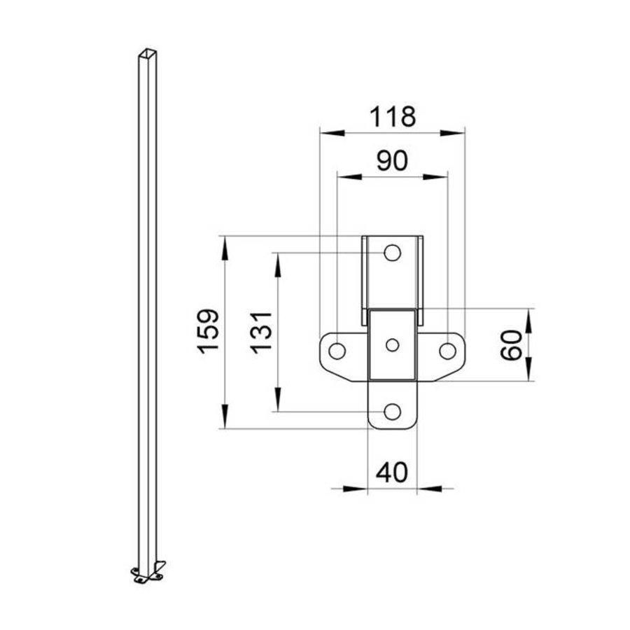 Gecoate staander 60 x 40 x 2200mm in grijs (RAL 7037)
