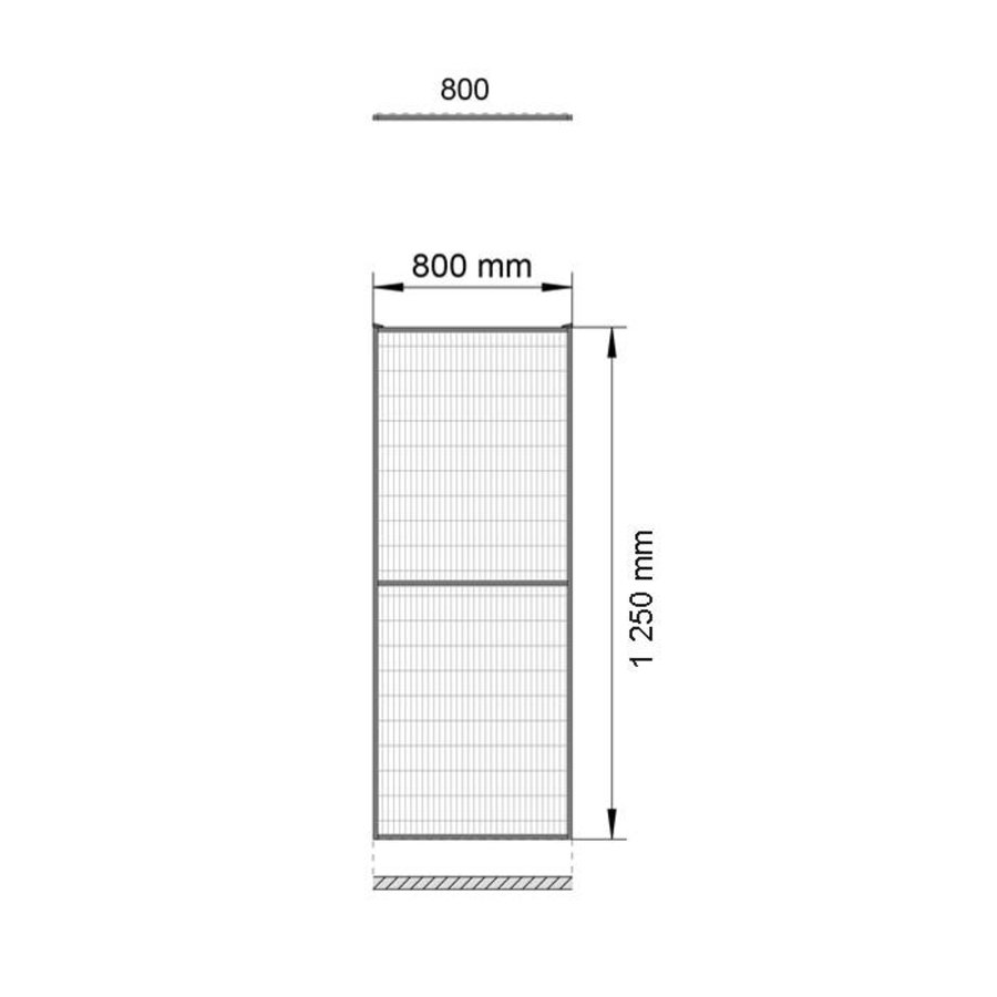 ST20 coated mesh panel 1400mm height in grey (RAL 7037)